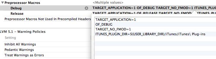 Preprocessor macros in xcode