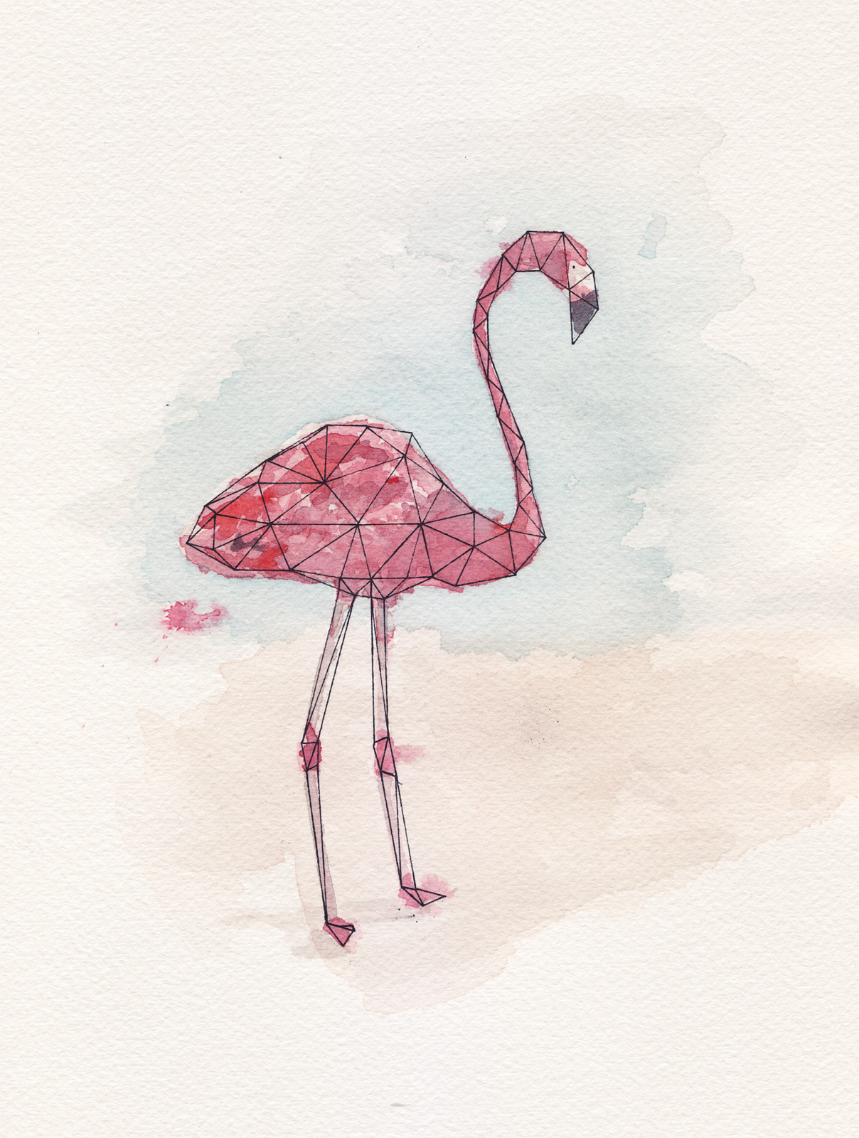 Geo Flamingo Watercolor Painting